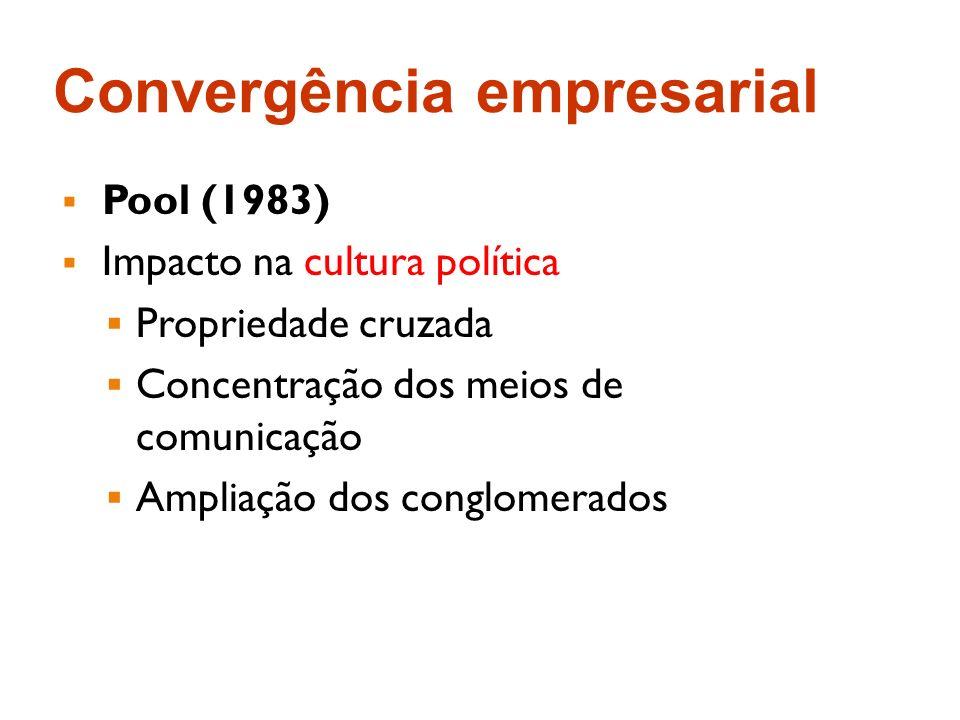 Convergência empresarial Pool (1983) Impacto na cultura política Propriedade cruzada Concentração dos meios de comunicação Ampliação dos conglomerados