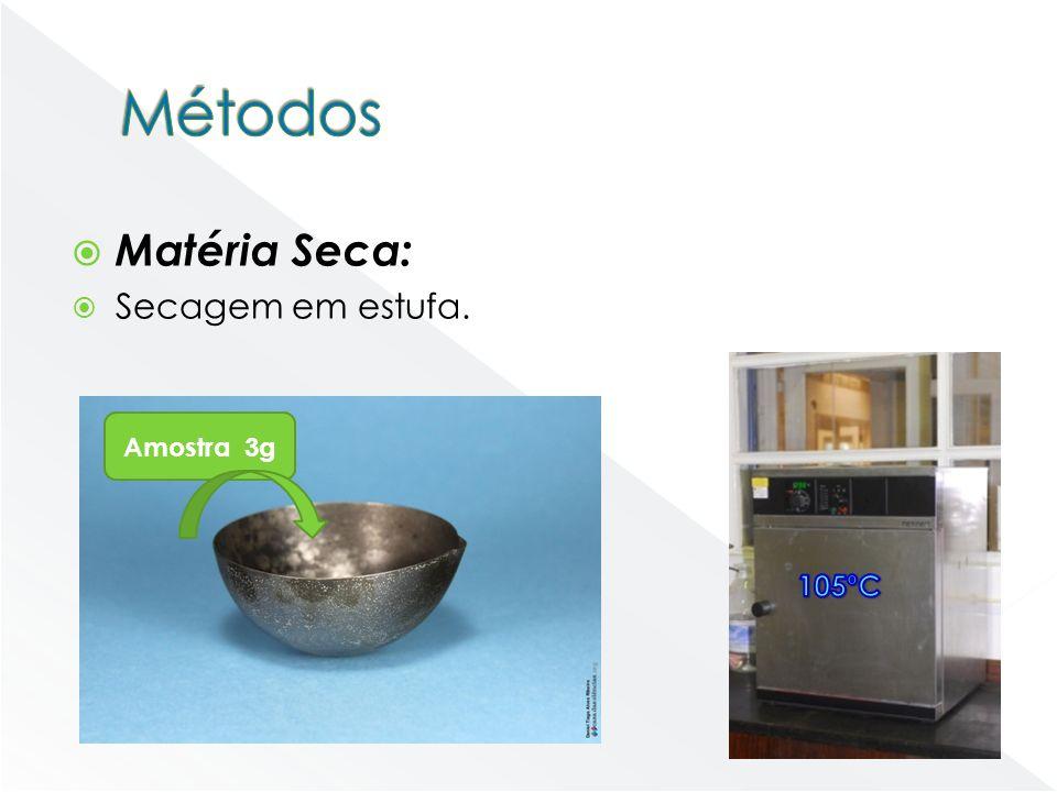Matéria Seca: Secagem em estufa. Amostra 3g