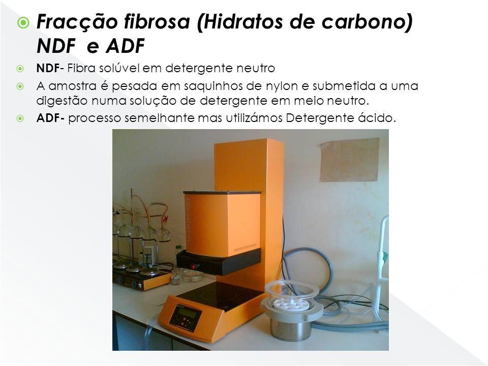 Fracção fibrosa (Hidratos de carbono) NDF e ADF NDF - Fibra solúvel em detergente neutro A amostra é pesada em saquinhos de nylon e submetida a uma di