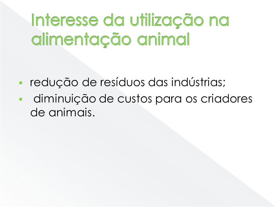 redução de resíduos das indústrias; diminuição de custos para os criadores de animais.