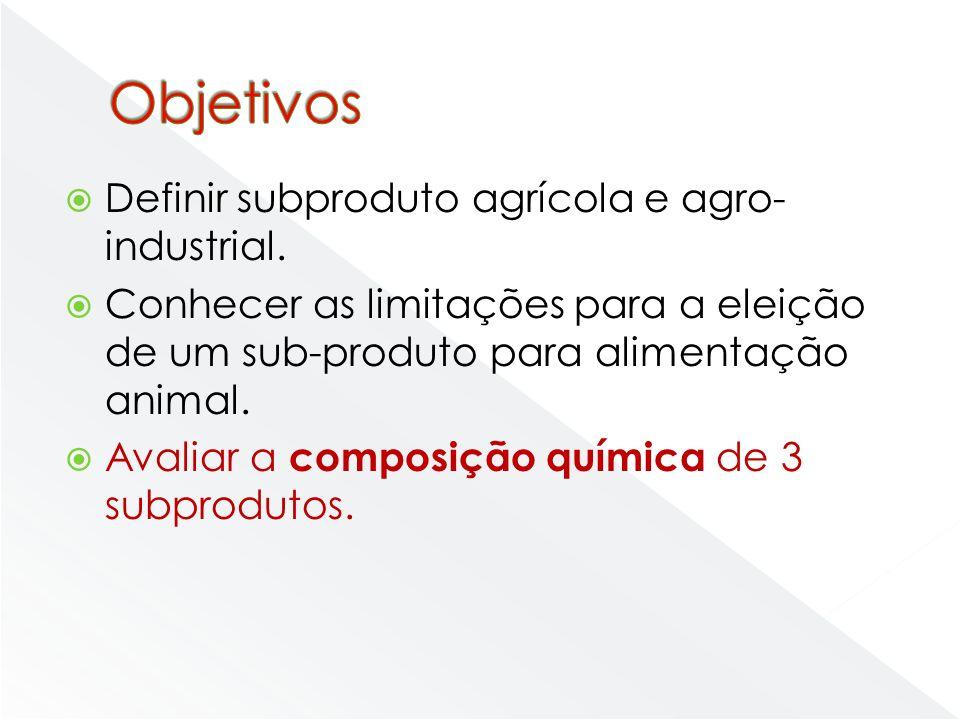 Definir subproduto agrícola e agro- industrial. Conhecer as limitações para a eleição de um sub-produto para alimentação animal. Avaliar a composição