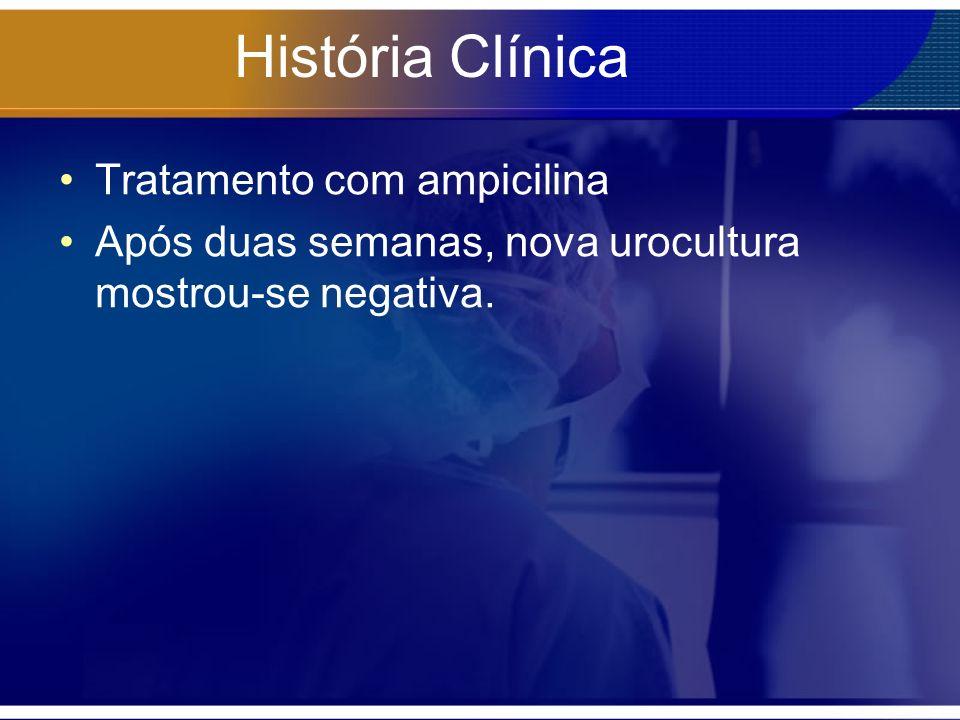 História Clínica Tratamento com ampicilina Após duas semanas, nova urocultura mostrou-se negativa.