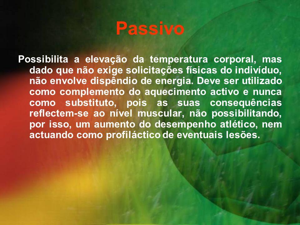 Passivo Possibilita a elevação da temperatura corporal, mas dado que não exige solicitações físicas do indivíduo, não envolve dispêndio de energia. De