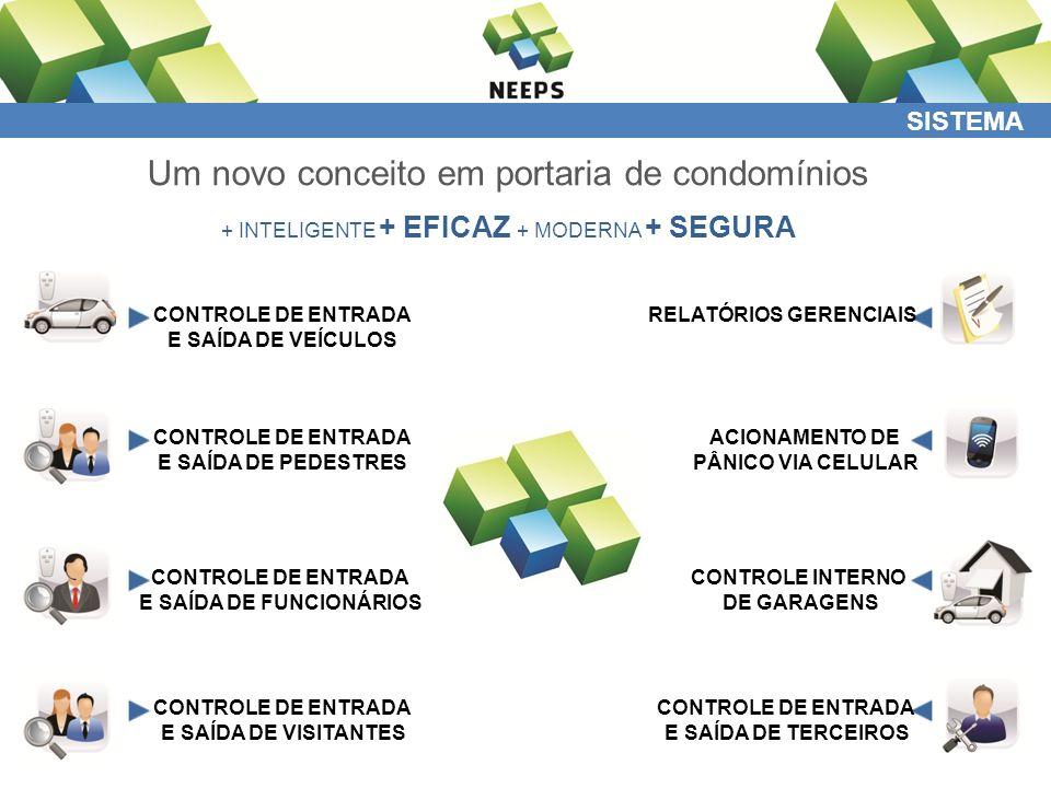 SISTEMA Um novo conceito em portaria de condomínios + INTELIGENTE + EFICAZ + MODERNA + SEGURA CONTROLE DE ENTRADA E SAÍDA DE VEÍCULOS CONTROLE DE ENTRADA E SAÍDA DE PEDESTRES CONTROLE DE ENTRADA E SAÍDA DE FUNCIONÁRIOS CONTROLE DE ENTRADA E SAÍDA DE VISITANTES RELATÓRIOS GERENCIAIS ACIONAMENTO DE PÂNICO VIA CELULAR CONTROLE DE ENTRADA E SAÍDA DE TERCEIROS CONTROLE INTERNO DE GARAGENS