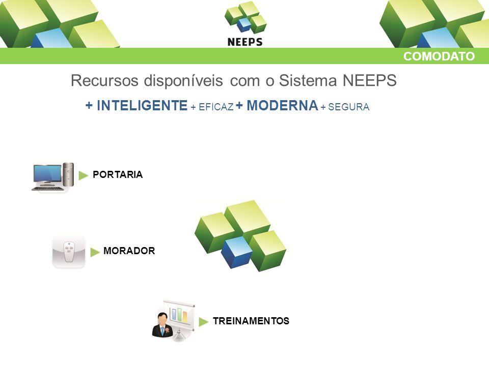 COMODATO Recursos disponíveis com o Sistema NEEPS + INTELIGENTE + EFICAZ + MODERNA + SEGURA PORTARIA MORADOR TREINAMENTOS