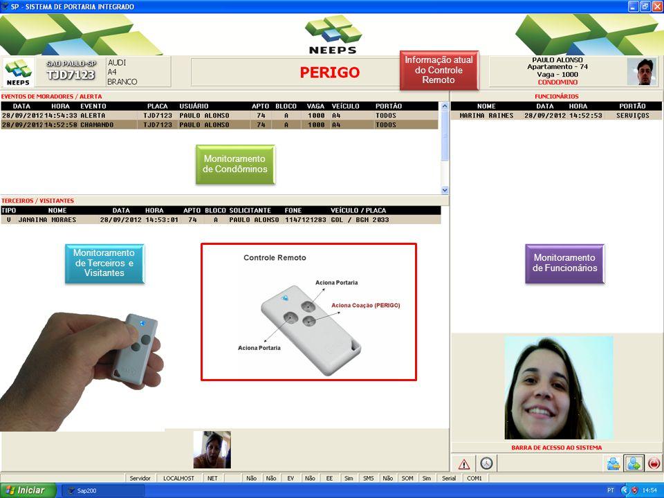 Monitoramento de Condôminos Monitoramento de Funcionários Monitoramento de Terceiros e Visitantes Informação atual do Controle Remoto
