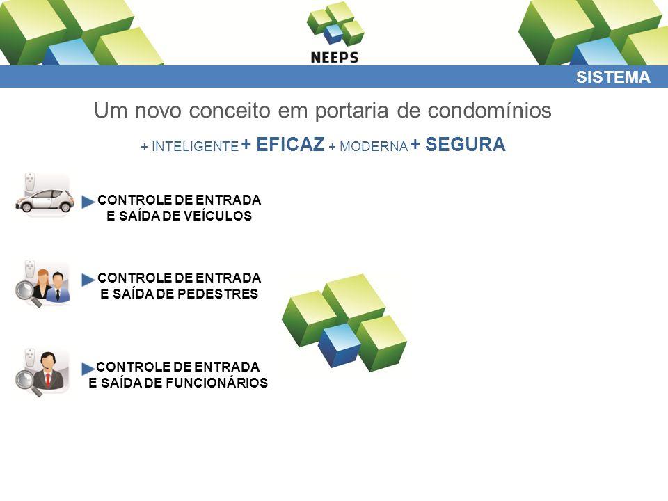 SISTEMA Um novo conceito em portaria de condomínios + INTELIGENTE + EFICAZ + MODERNA + SEGURA CONTROLE DE ENTRADA E SAÍDA DE VEÍCULOS CONTROLE DE ENTRADA E SAÍDA DE PEDESTRES CONTROLE DE ENTRADA E SAÍDA DE FUNCIONÁRIOS CONTROLE DE ENTRADA E SAÍDA DE VISITANTES