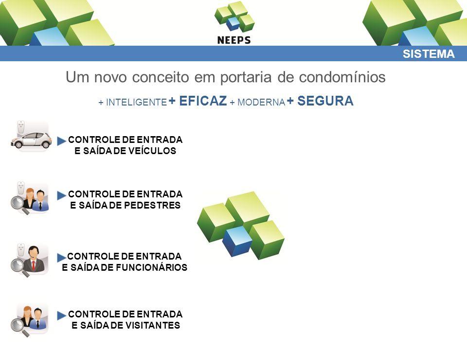 SISTEMA Um novo conceito em portaria de condomínios + INTELIGENTE + EFICAZ + MODERNA + SEGURA CONTROLE DE ENTRADA E SAÍDA DE VEÍCULOS CONTROLE DE ENTRADA E SAÍDA DE PEDESTRES CONTROLE DE ENTRADA E SAÍDA DE FUNCIONÁRIOS CONTROLE DE ENTRADA E SAÍDA DE VISITANTES CONTROLE DE ENTRADA E SAÍDA DE TERCEIROS