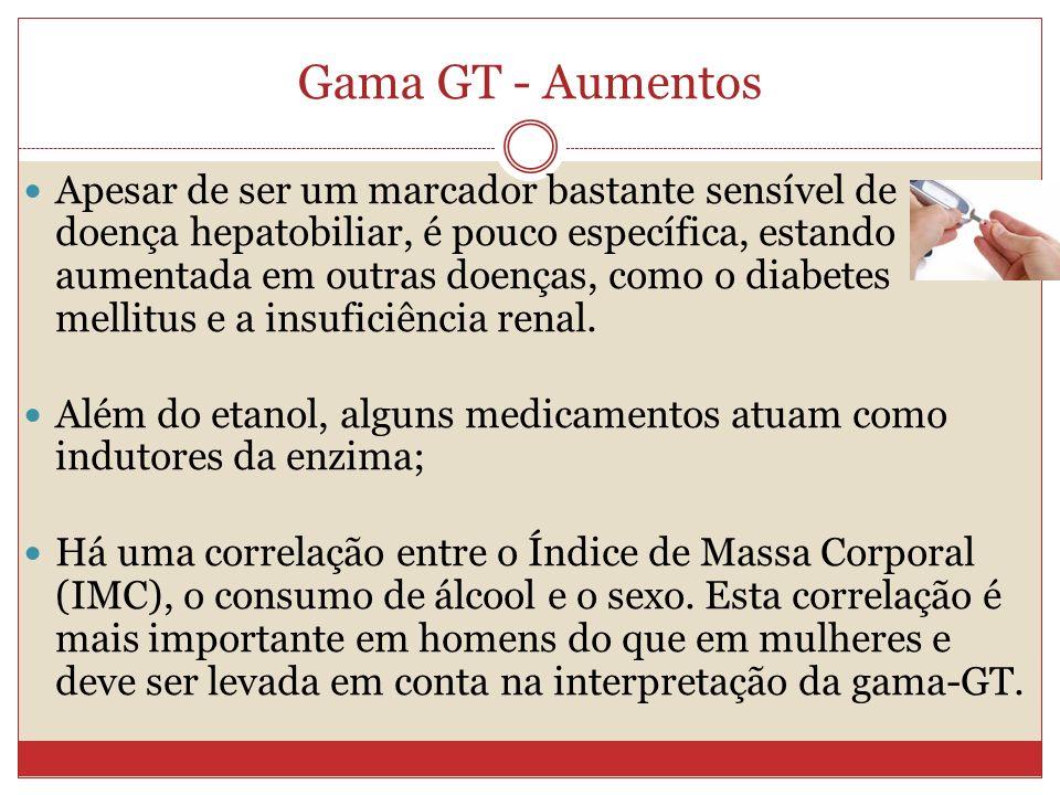 Gama GT - Aumentos Apesar de ser um marcador bastante sensível de doença hepatobiliar, é pouco específica, estando aumentada em outras doenças, como o diabetes mellitus e a insuficiência renal.
