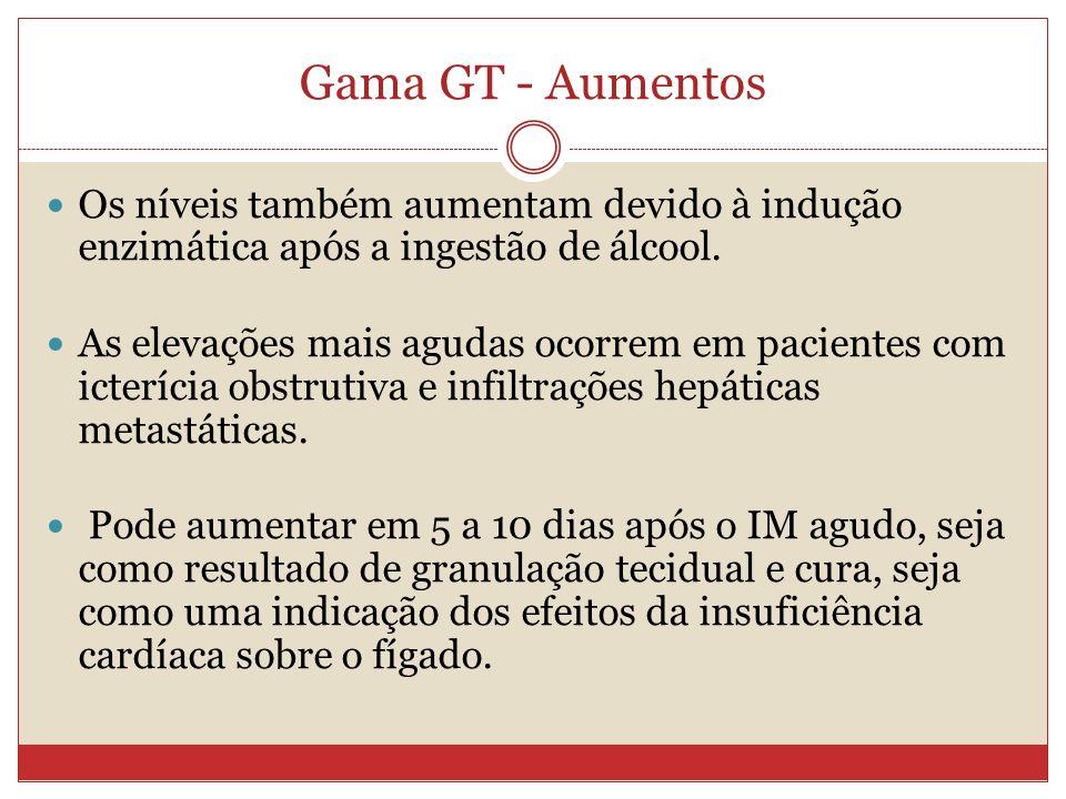 Gama GT - Aumentos Os níveis também aumentam devido à indução enzimática após a ingestão de álcool. As elevações mais agudas ocorrem em pacientes com