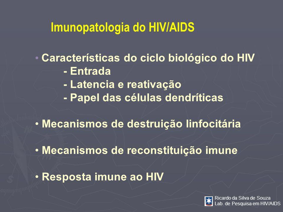 Ricardo da Silva de Souza Lab. de Pesquisa em HIV/AIDS Características do ciclo biológico do HIV - Entrada - Latencia e reativação - Papel das células