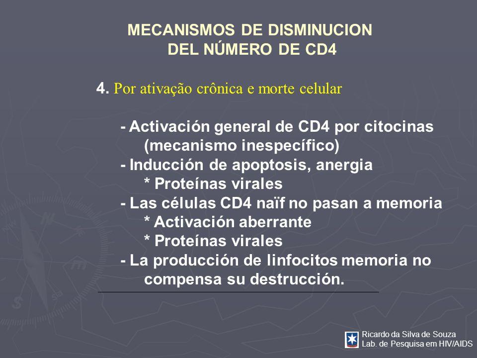 Ricardo da Silva de Souza Lab. de Pesquisa em HIV/AIDS MECANISMOS DE DISMINUCION DEL NÚMERO DE CD4 4. Por ativação crônica e morte celular - Activació