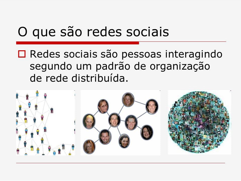 O que são redes sociais Redes sociais são pessoas interagindo segundo um padrão de organização de rede distribuída.