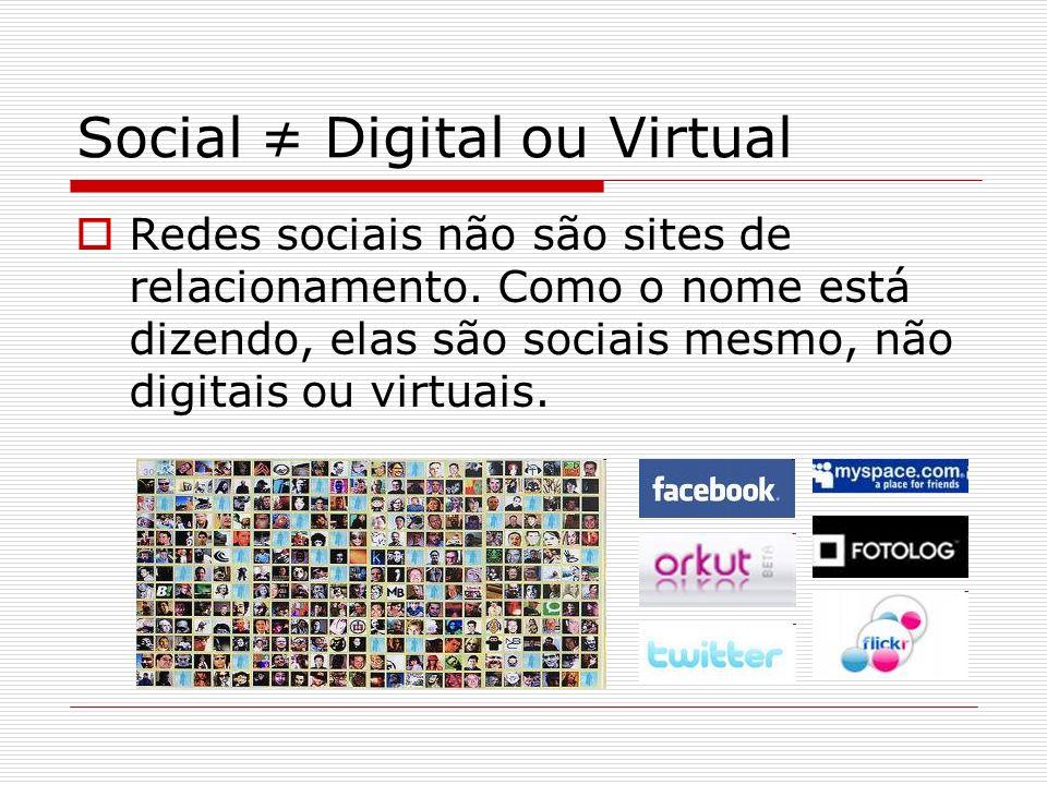 Social Digital ou Virtual Redes sociais não são sites de relacionamento. Como o nome está dizendo, elas são sociais mesmo, não digitais ou virtuais.