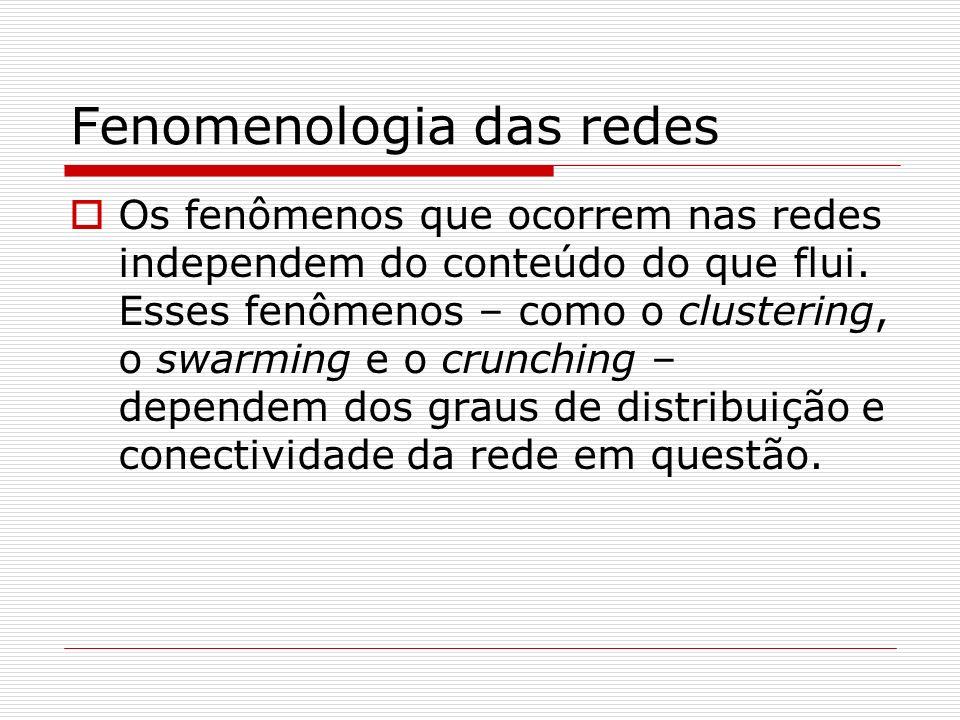 Fenomenologia das redes Os fenômenos que ocorrem nas redes independem do conteúdo do que flui. Esses fenômenos – como o clustering, o swarming e o cru
