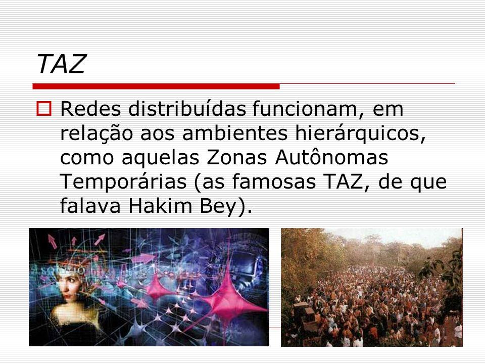 TAZ Redes distribuídas funcionam, em relação aos ambientes hierárquicos, como aquelas Zonas Autônomas Temporárias (as famosas TAZ, de que falava Hakim