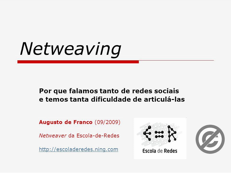 Netweaving Por que falamos tanto de redes sociais e temos tanta dificuldade de articulá-las Augusto de Franco (09/2009) Netweaver da Escola-de-Redes h