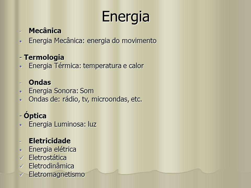 Energia -M-M-M-Mecânica Energia Mecânica: energia do movimento - Termologia Energia Térmica: temperatura e calor -O-O-O-Ondas Energia Sonora: Som Onda