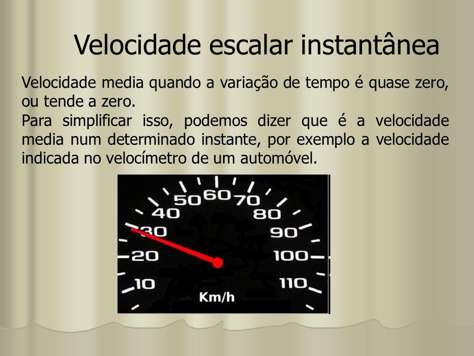 Velocidade escalar instantânea Velocidade media quando a variação de tempo é quase zero, ou tende a zero. Para simplificar isso, podemos dizer que é a