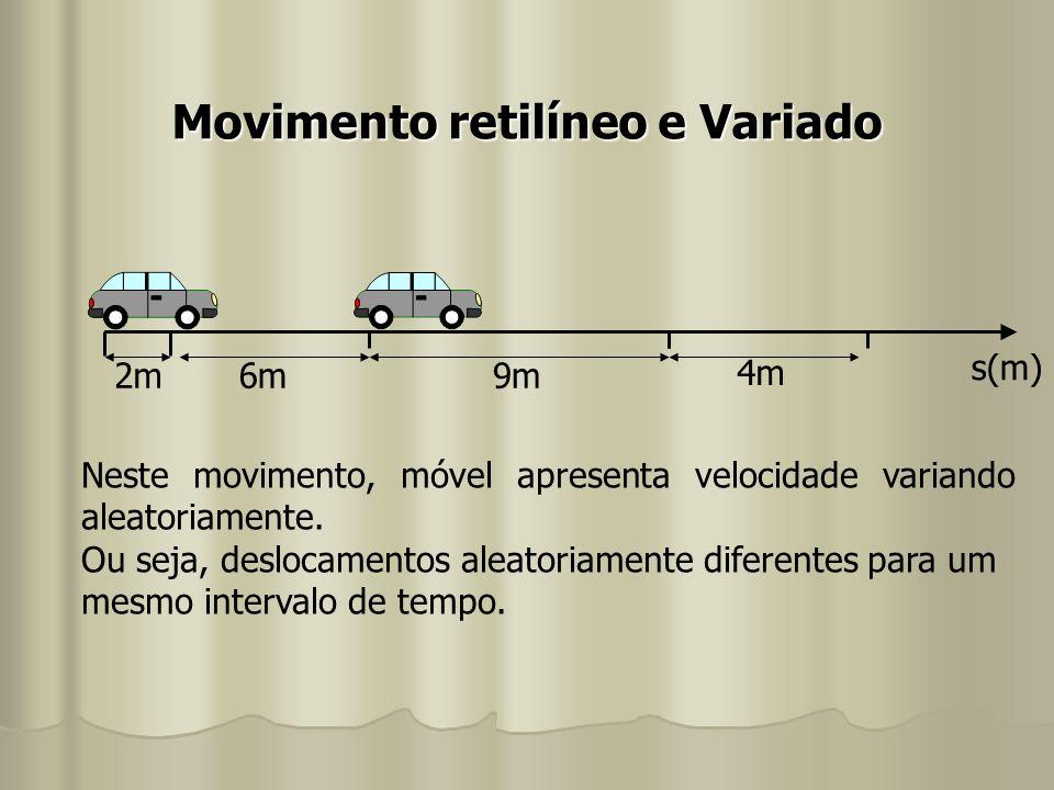 Movimento retilíneo e Variado s(m) 2m 9m6m 4m Neste movimento, móvel apresenta velocidade variando aleatoriamente. Ou seja, deslocamentos aleatoriamen