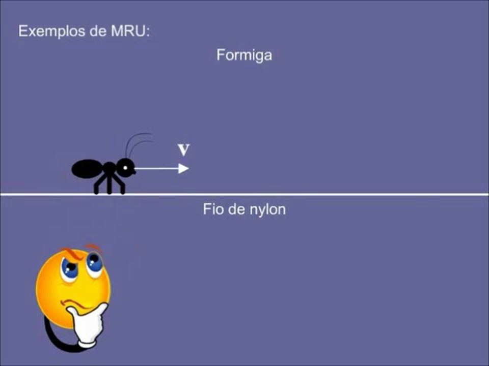 Movimento Retilíneo e Uniforme MRU -Retilíneo: Movimento num seguimento em linha reta. -Uniforme: A velocidade média coincide com a velocidade instant