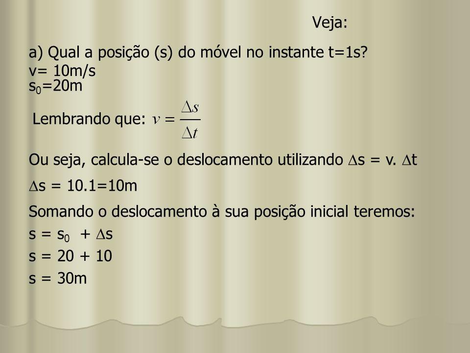 Veja: s 0 =20m Ou seja, calcula-se o deslocamento utilizando s = v. t Lembrando que: a) Qual a posição (s) do móvel no instante t=1s? v= 10m/s s = 10.