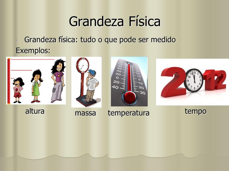 Grandeza Física -G-G-G-Grandeza física: tudo o que pode ser medido Exemplos: altura massa temperatura tempo