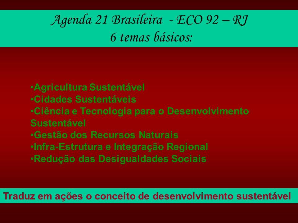 Agenda 21 Brasileira - ECO 92 – RJ 6 temas básicos: Agricultura Sustentável Cidades Sustentáveis Ciência e Tecnologia para o Desenvolvimento Sustentáv
