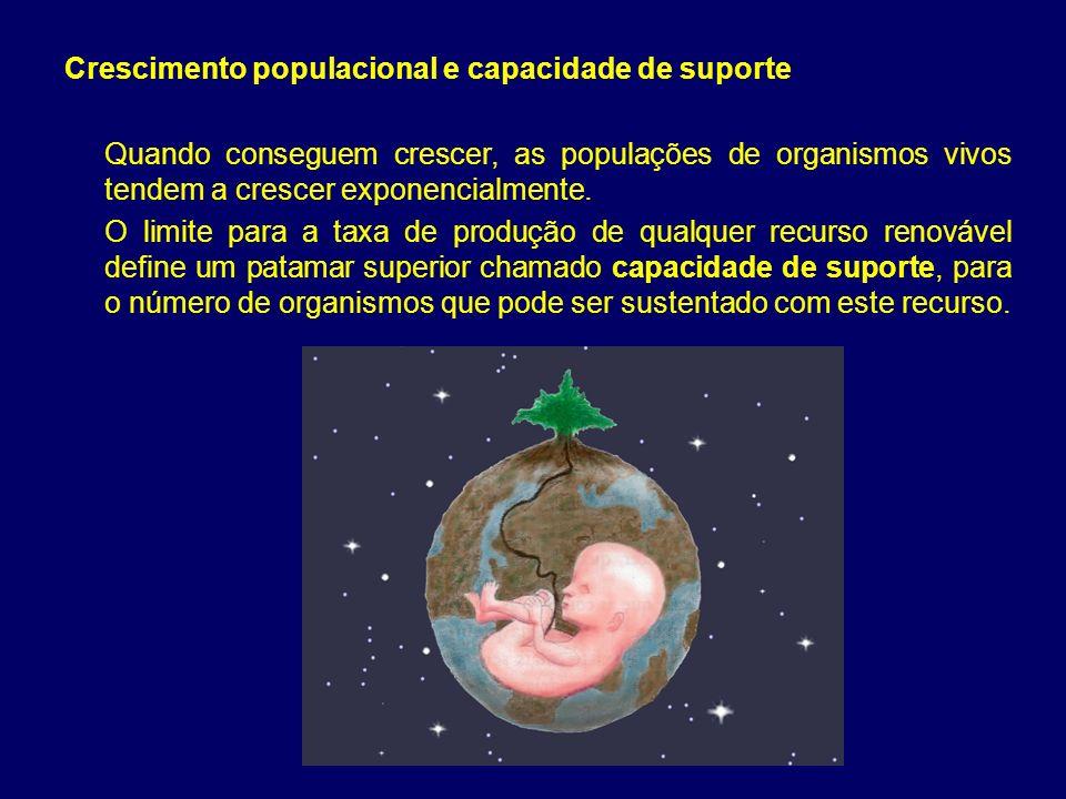 Crescimento populacional e capacidade de suporte Quando conseguem crescer, as populações de organismos vivos tendem a crescer exponencialmente. O limi