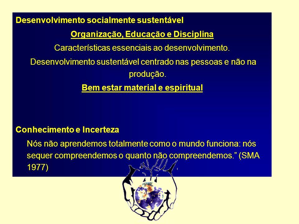 Desenvolvimento socialmente sustentável Organização, Educação e Disciplina Características essenciais ao desenvolvimento. Desenvolvimento sustentável