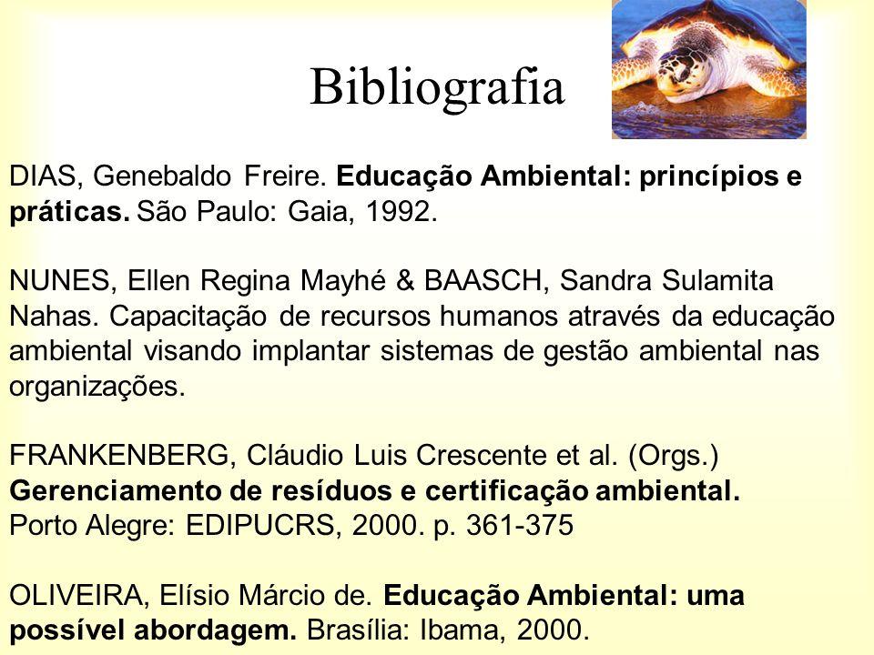 Bibliografia DIAS, Genebaldo Freire. Educação Ambiental: princípios e práticas. São Paulo: Gaia, 1992. NUNES, Ellen Regina Mayhé & BAASCH, Sandra Sula
