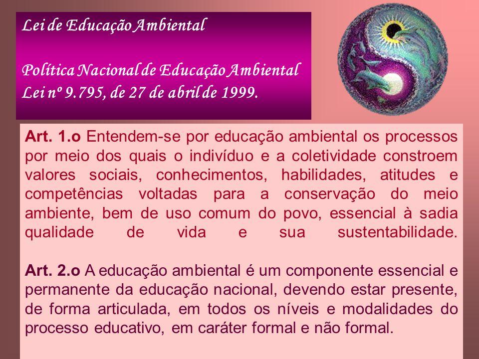 Lei de Educação Ambiental Política Nacional de Educação Ambiental Lei nº 9.795, de 27 de abril de 1999. Art. 1.o Entendem-se por educação ambiental os