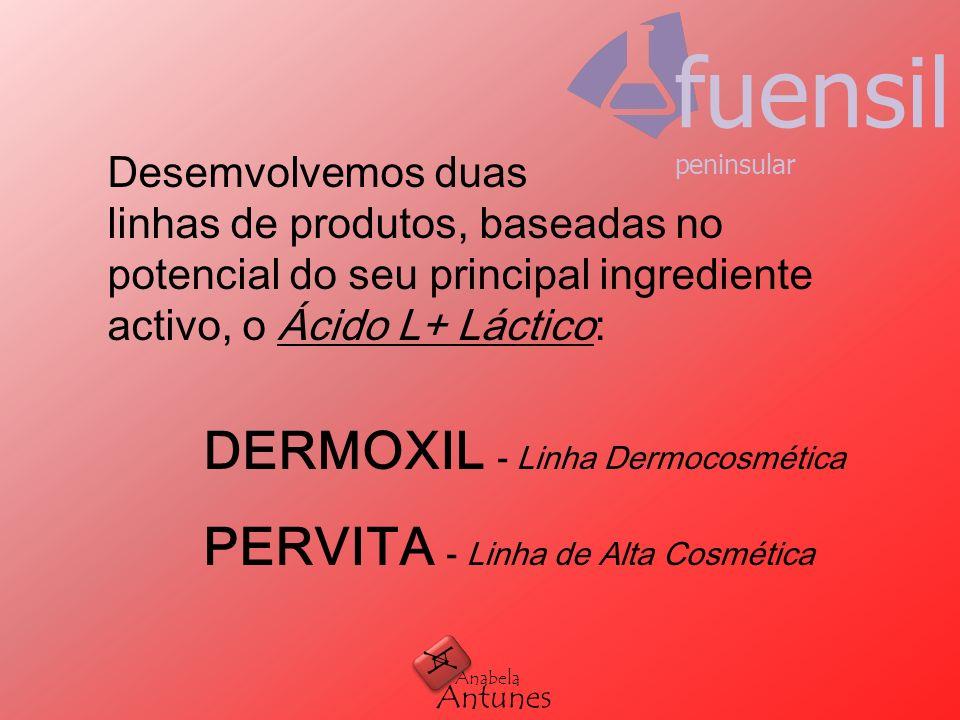 Desemvolvemos duas linhas de produtos, baseadas no potencial do seu principal ingrediente activo, o Ácido L+ Láctico: DERMOXIL - Linha Dermocosmética