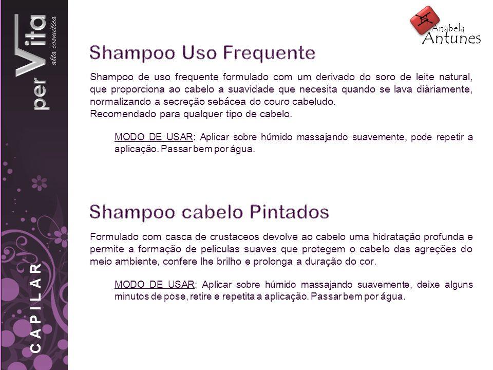 alta cosmética Shampoo de uso frequente formulado com um derivado do soro de leite natural, que proporciona ao cabelo a suavidade que necesita quando