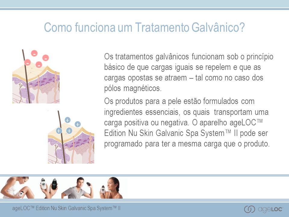 ageLOC Edition Nu Skin Galvanic Spa System II Os tratamentos galvânicos funcionam sob o princípio básico de que cargas iguais se repelem e que as cargas opostas se atraem – tal como no caso dos pólos magnéticos.