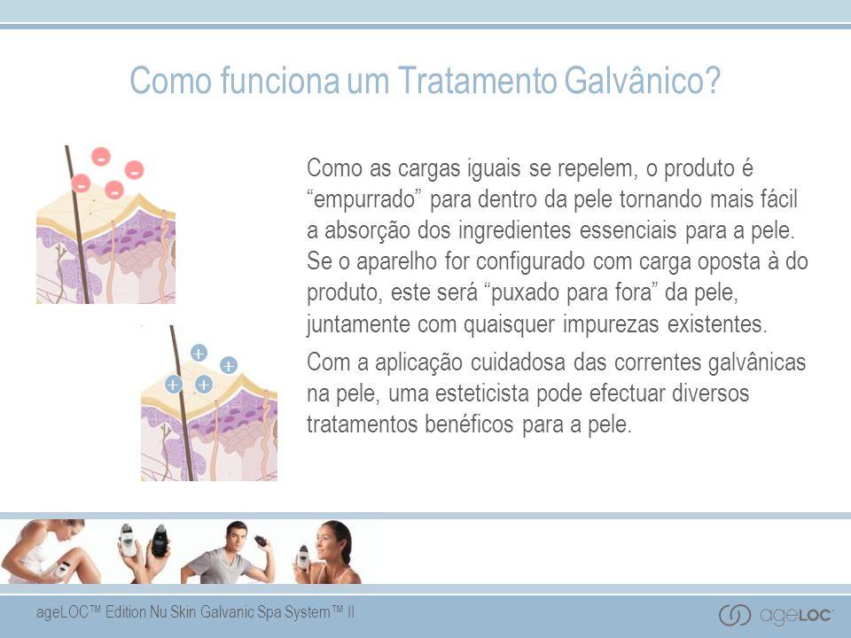 ageLOC Edition Nu Skin Galvanic Spa System II Como funciona um Tratamento Galvânico? Como as cargas iguais se repelem, o produto é empurrado para dent