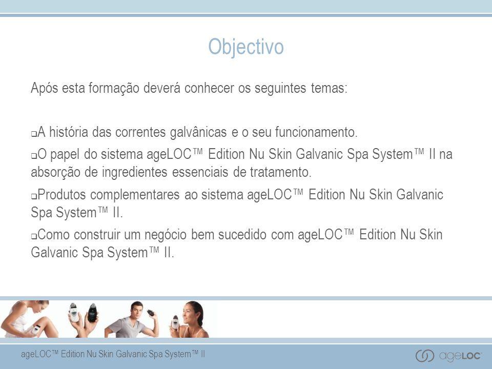 ageLOC Edition Nu Skin Galvanic Spa System II Objectivo Após esta formação deverá conhecer os seguintes temas: A história das correntes galvânicas e o seu funcionamento.
