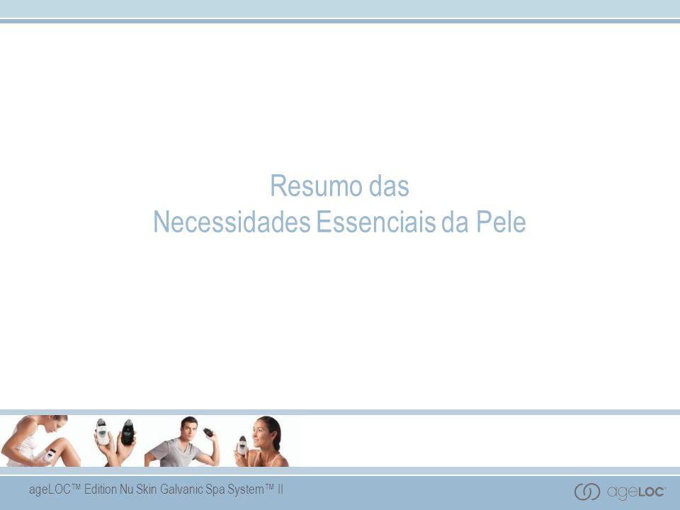ageLOC Edition Nu Skin Galvanic Spa System II Resumo das Necessidades Essenciais da Pele