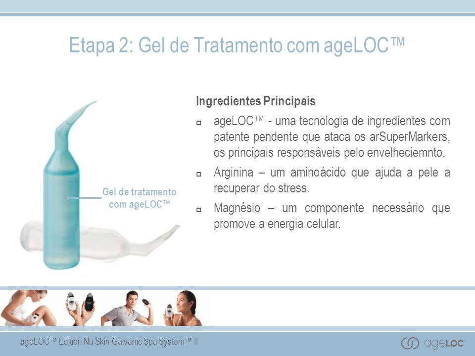 ageLOC Edition Nu Skin Galvanic Spa System II Gel de tratamento com ageLOC Ingredientes Principais ageLOC - uma tecnologia de ingredientes com patente pendente que ataca os arSuperMarkers, os principais responsáveis pelo envelheciemnto.
