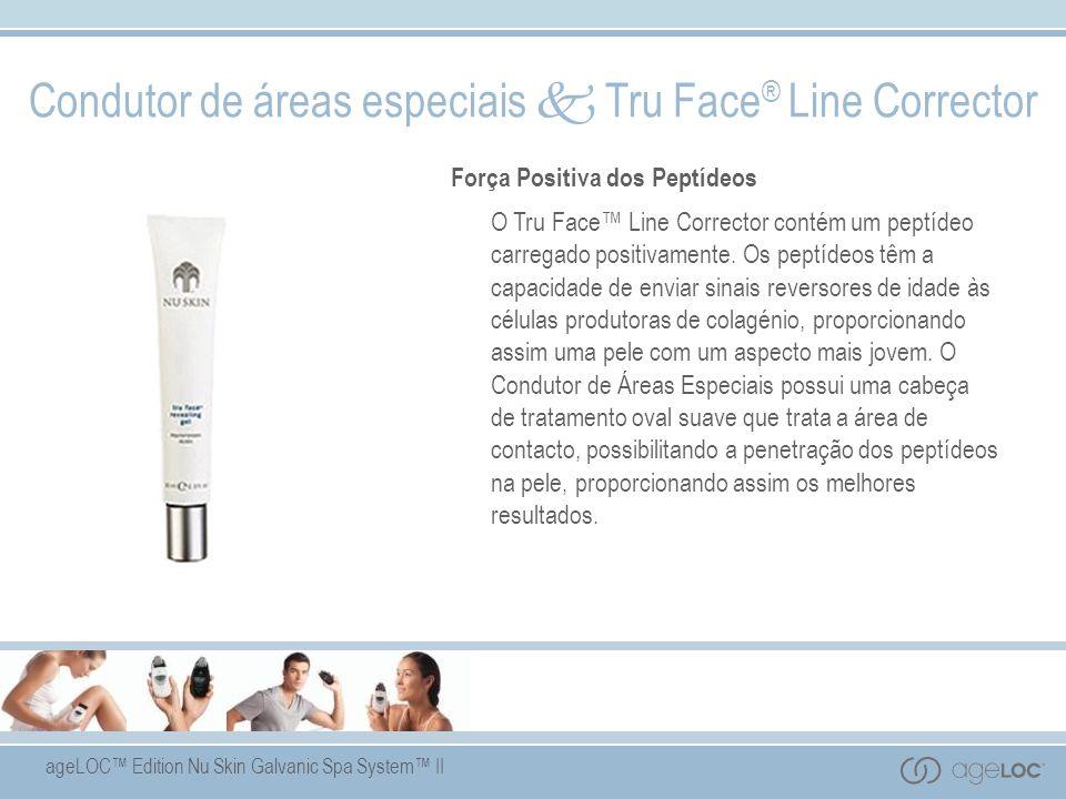 ageLOC Edition Nu Skin Galvanic Spa System II Condutor de áreas especiais Tru Face ® Line Corrector Força Positiva dos Peptídeos O Tru Face Line Corrector contém um peptídeo carregado positivamente.