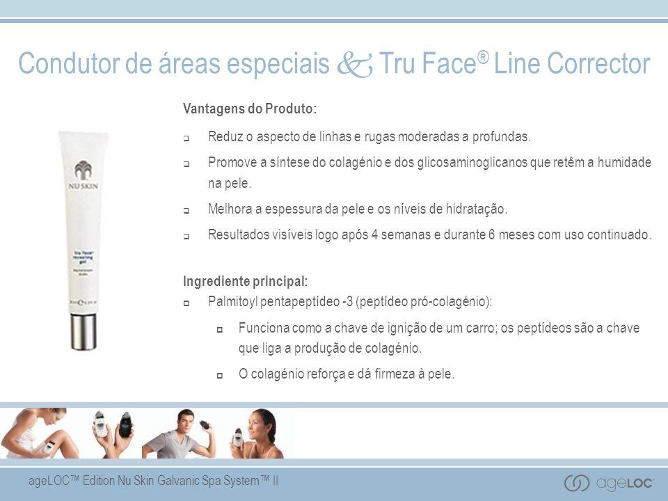 ageLOC Edition Nu Skin Galvanic Spa System II Condutor de áreas especiais Tru Face ® Line Corrector Vantagens do Produto: Reduz o aspecto de linhas e rugas moderadas a profundas.