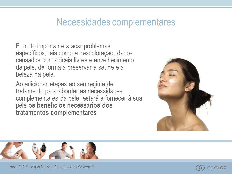 ageLOC Edition Nu Skin Galvanic Spa System II Necessidades complementares É muito importante atacar problemas específicos, tais como a descoloração, danos causados por radicais livres e envelhecimento da pele, de forma a preservar a saúde e a beleza da pele.