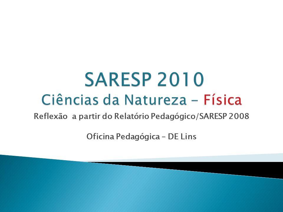 Reflexão a partir do Relatório Pedagógico/SARESP 2008 Oficina Pedagógica – DE Lins