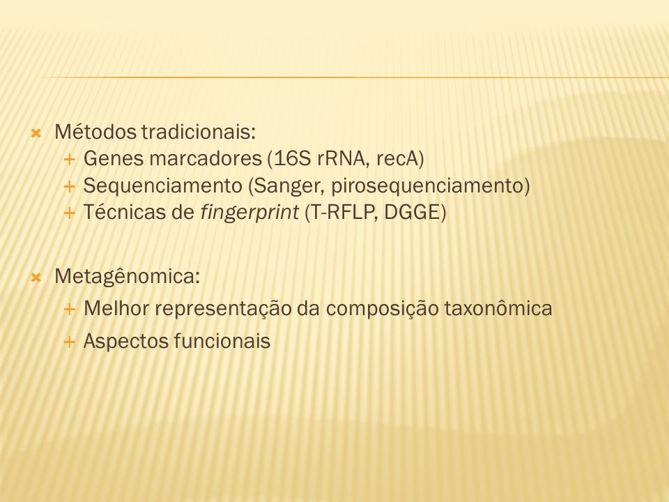 Métodos tradicionais: Genes marcadores (16S rRNA, recA) Sequenciamento (Sanger, pirosequenciamento) Técnicas de fingerprint (T-RFLP, DGGE) Metagênomic