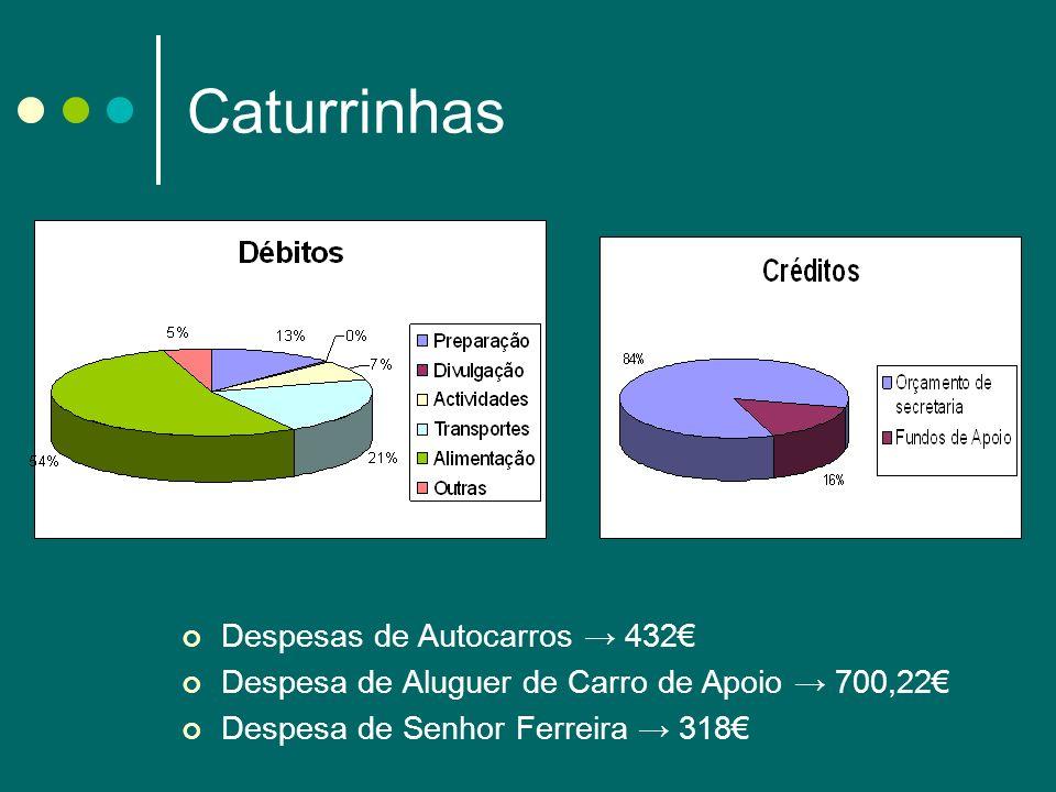 Caturrinhas Despesas de Autocarros 432 Despesa de Aluguer de Carro de Apoio 700,22 Despesa de Senhor Ferreira 318