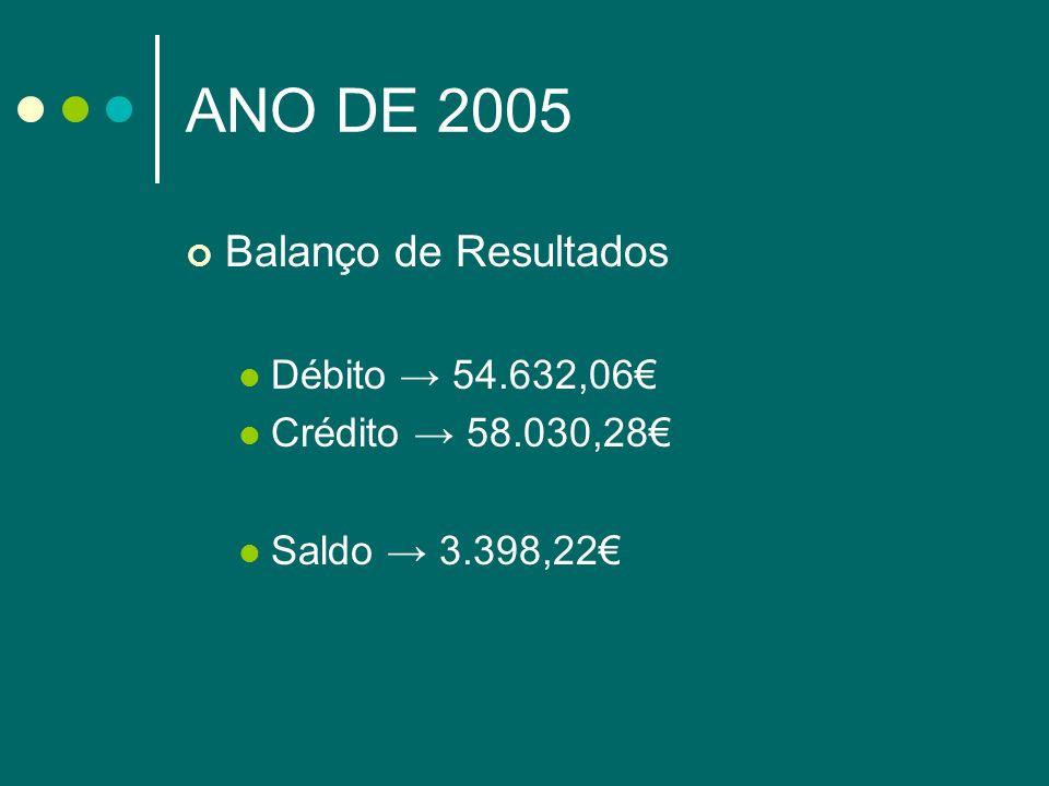 ANO DE 2005 Balanço de Resultados Débito 54.632,06 Crédito 58.030,28 Saldo 3.398,22