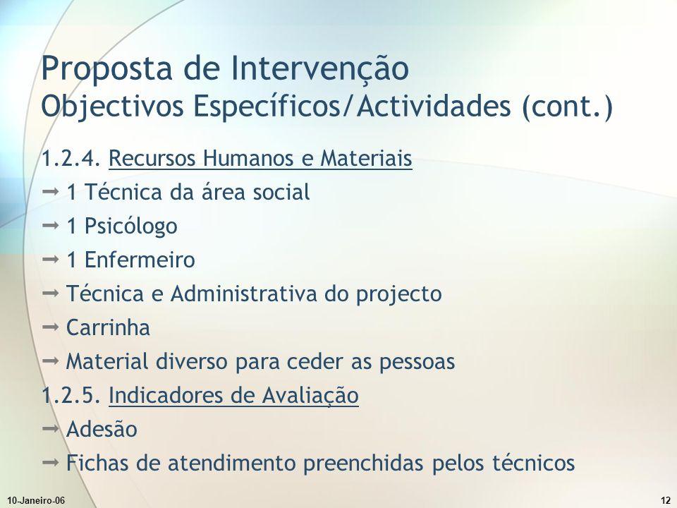 10-Janeiro-0612 Proposta de Intervenção Objectivos Específicos/Actividades (cont.) 1.2.4.