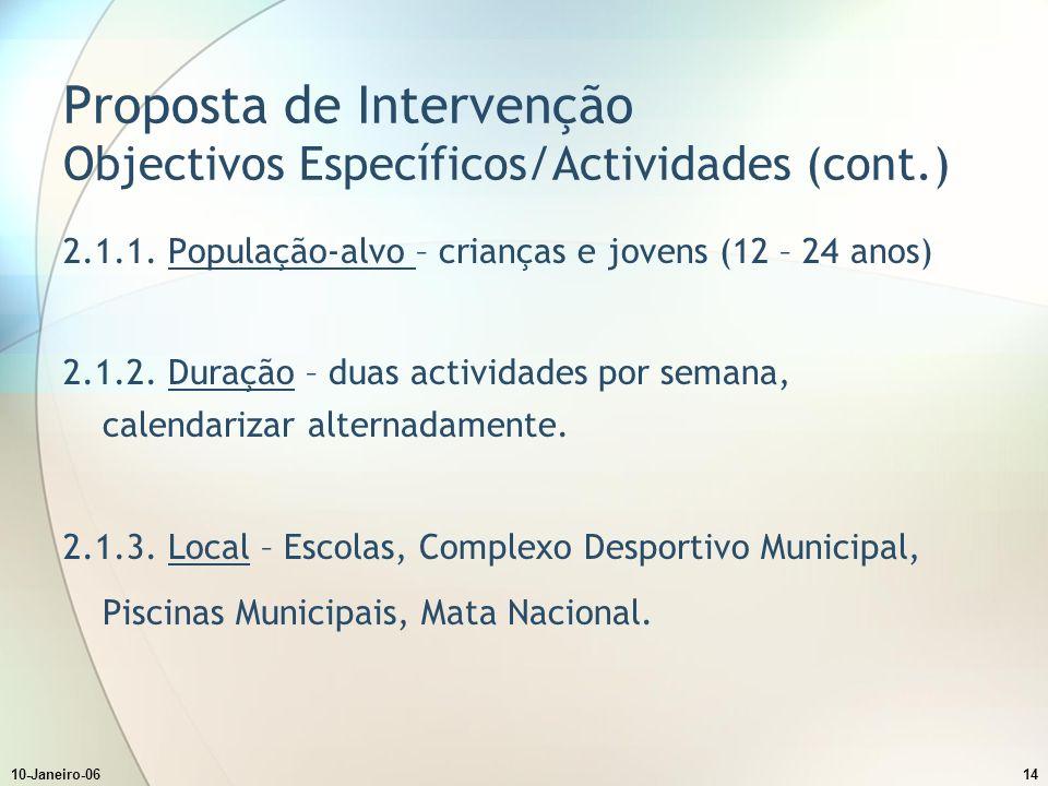 10-Janeiro-0614 Proposta de Intervenção Objectivos Específicos/Actividades (cont.) 2.1.1.