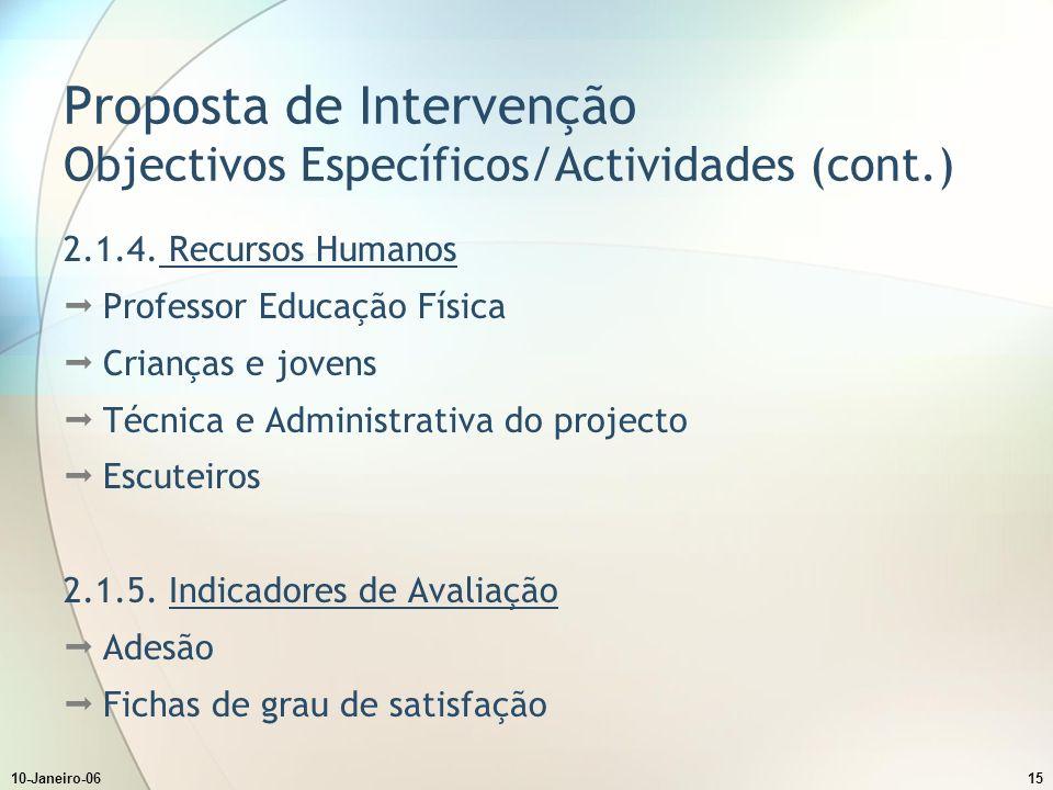 10-Janeiro-0615 Proposta de Intervenção Objectivos Específicos/Actividades (cont.) 2.1.4.