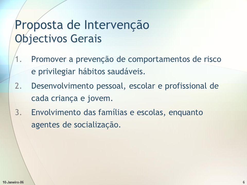 10-Janeiro-066 Proposta de Intervenção Objectivos Gerais 1.Promover a prevenção de comportamentos de risco e privilegiar hábitos saudáveis.
